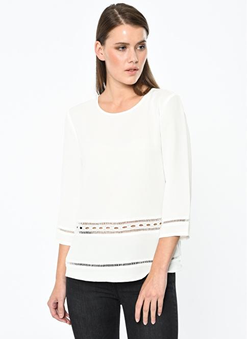 Koton Dantel Detaylı Truvakar Kol Bluz Beyaz